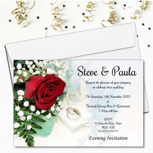 10 Personalised Elegant Red Rose Wedding Invitations Day or Evening N9